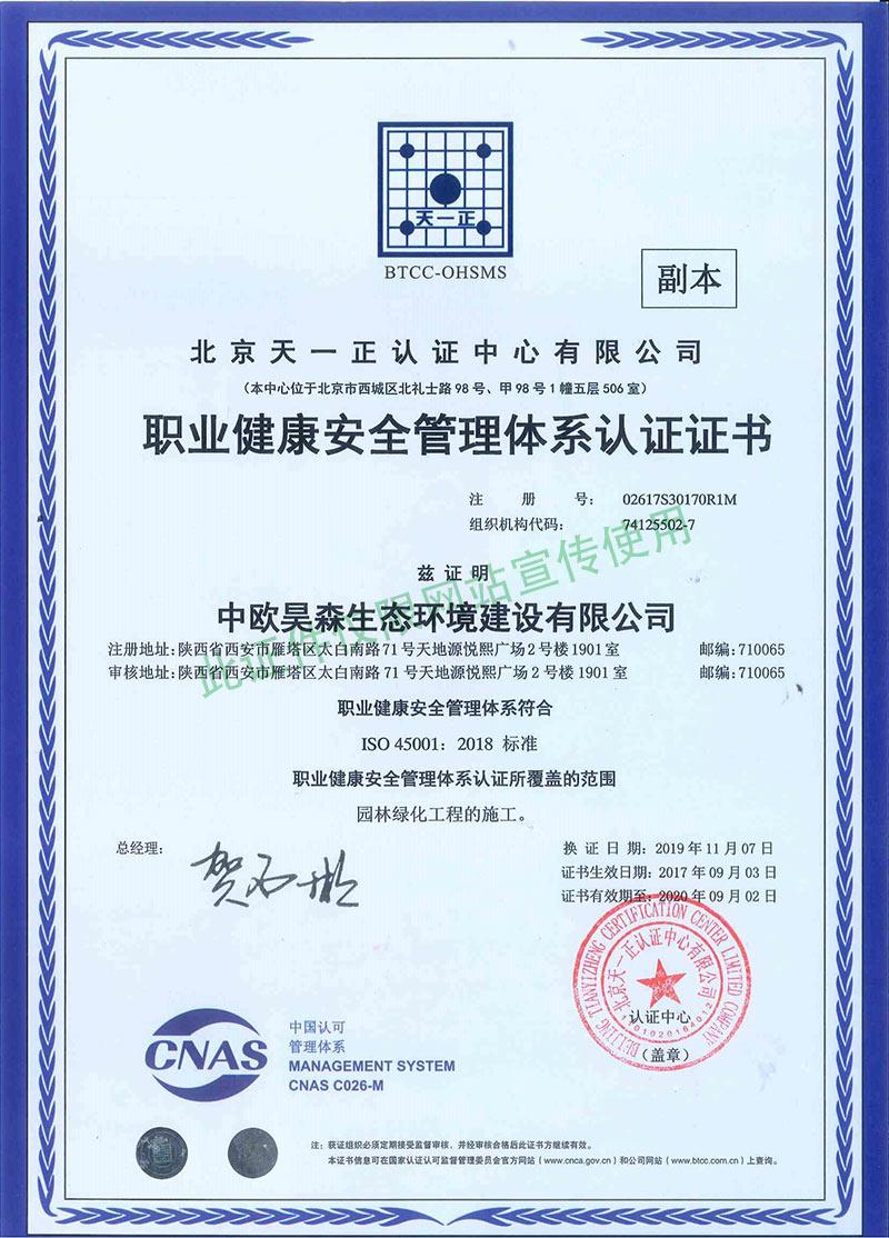 中欧昊森职业健康管理体系认证证书
